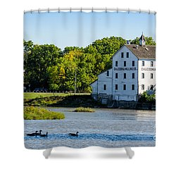 Old Mill On Grand River In Caledonia In Ontario Shower Curtain
