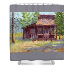 Shower Curtain featuring the painting Old Mining Store by Nancy Jolley