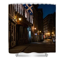 Old Montreal At Night Shower Curtain by Cheryl Baxter