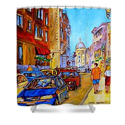 Shower Curtain featuring the painting Old Montreal by Carole Spandau