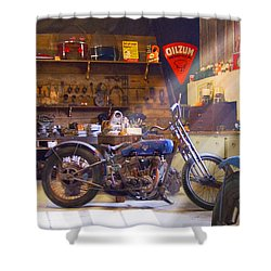 Old Motorcycle Shop 2 Shower Curtain