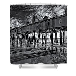 Old Orchard Beach Pier Bw Shower Curtain by Susan Candelario