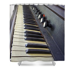 Old Organ Keyboard Shower Curtain by Laurie Perry