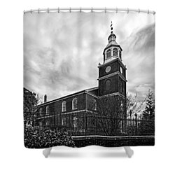 Old Otterbein Church In Black And White Shower Curtain