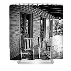 Old Porch Rockers Shower Curtain by Perry Webster