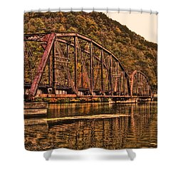 Shower Curtain featuring the photograph Old Railroad Bridge With Sepia Tones by Jonny D