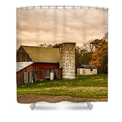Old Red Barn And Silo Shower Curtain