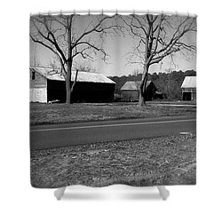 Old Red Barn In Black And White Shower Curtain by Amazing Photographs AKA Christian Wilson