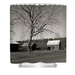 Old Red Barn In Black And White Long Shower Curtain