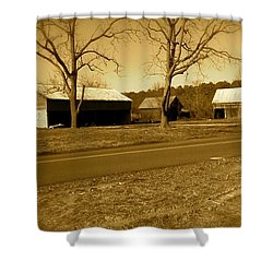 Old Red Barn In Sepia Shower Curtain by Amazing Photographs AKA Christian Wilson