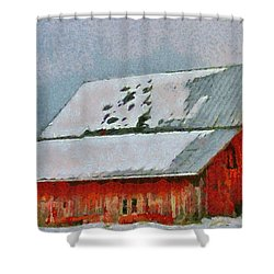 Old Red Barn In Winter Shower Curtain by Dan Sproul