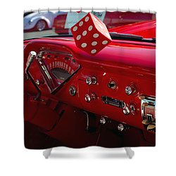 Shower Curtain featuring the photograph Old Red Chevy Dash by Tikvah's Hope