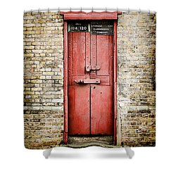 Old Red Door Shower Curtain by Heather Applegate