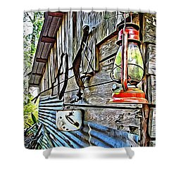 Old Rustic Building - Aunt Tinys Shed  Shower Curtain by Rebecca Korpita