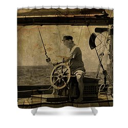 old sailor A vintage processed photo of a sailor sitted behind the rudder in Mediterranean sailing Shower Curtain