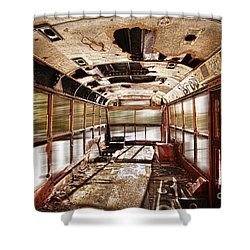 Old School Bus In Motion Hdr Shower Curtain by James BO  Insogna