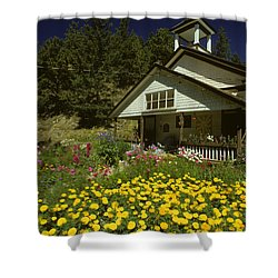 Old Schoolhouse And Garden. Shower Curtain