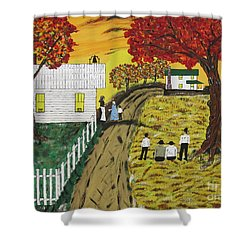 Old Schoolhouse Bell Shower Curtain by Jeffrey Koss