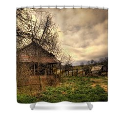 Old Shed And Barn At Osage Shower Curtain by Michael Dougherty