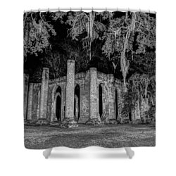 Old Sheldon Church At Night Shower Curtain