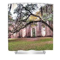 Old Sheldon Church - Bending Oak Shower Curtain