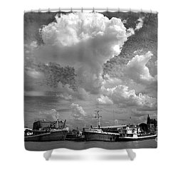 Old Ships Shower Curtain by Bernardo Galmarini