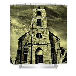 Old St. Mary's Church In Fredericksburg Texas In Sepia Shower Curtain