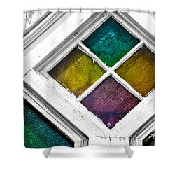 Old Stained Glass Windows Shower Curtain