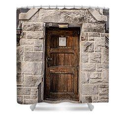 Old Stone Church Door Shower Curtain by Edward Fielding