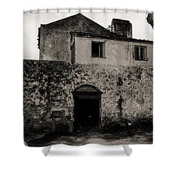 Old Stone House And Wall  Shower Curtain