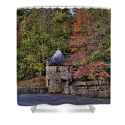 Shower Curtain featuring the photograph Old Stone Tower At The Edge Of The Forest by Jonny D