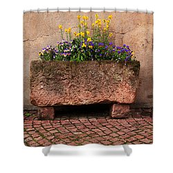 Old Stone Trough And Flowers In Alsace France Shower Curtain by Greg Matchick