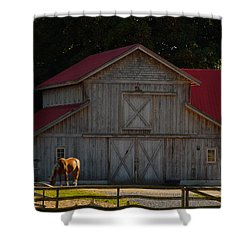 Shower Curtain featuring the photograph Old-style Horse Barn by Jordan Blackstone