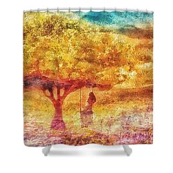 Old Swing Shower Curtain by Mo T