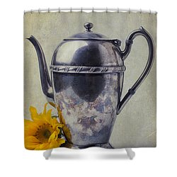 Old Teapot With Sunflower Shower Curtain by Garry Gay