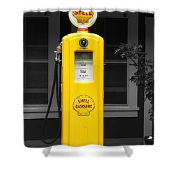 Shower Curtain featuring the photograph Old Time Gas Pump by David Lawson