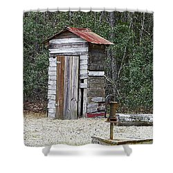 Old Time Outhouse And Pitcher Pump Shower Curtain
