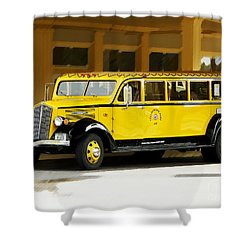 Shower Curtain featuring the photograph Old Time Yellowstone Bus by David Lawson