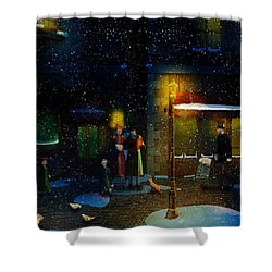 Old Town Christmas Eve Shower Curtain by Ken Morris