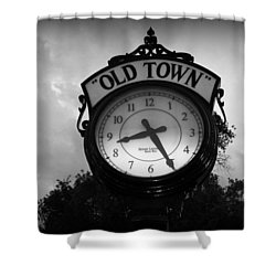 Old Town Clock Shower Curtain by Laurie Perry