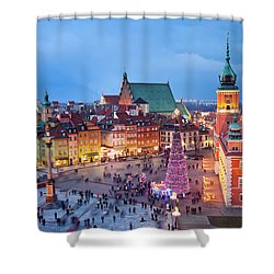 Old Town In Warsaw At Night Shower Curtain