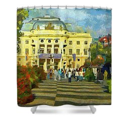 Old Town Square Shower Curtain by Jeffrey Kolker