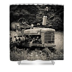 Old Tractor Black And White Square Shower Curtain by Edward Fielding