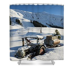 Old Tractor In Winter With Lots Of Snow Waiting For Spring Shower Curtain by Matthias Hauser