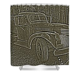Shower Curtain featuring the photograph Old Truck In Sepia by Betty Depee
