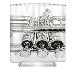 Old Trumpet Valves Shower Curtain