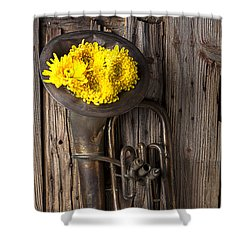 Old Tuba And Yellow Mums Shower Curtain by Garry Gay