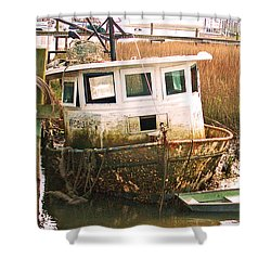 Old Tugboat By Jan Marvin Shower Curtain