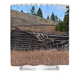 Old Turn Of The Century Log Cabin Homestead Art Prints Shower Curtain by Valerie Garner