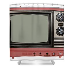 Vintage Tv Set Shower Curtain by Les Palenik